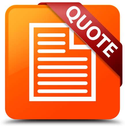 cotizacion: Quote (page icon) orange square button