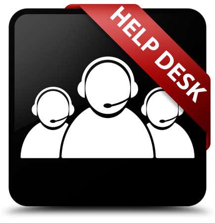 Help desk (customer care team icon) black square button