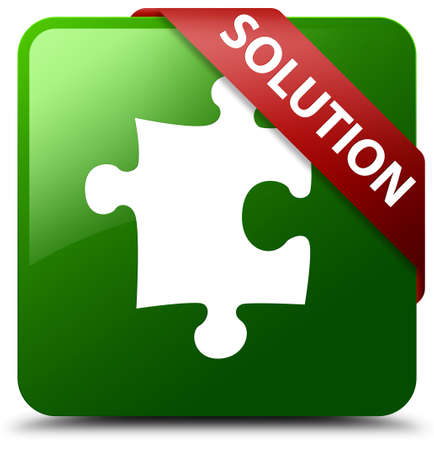 Solution (puzzle icon) green square button Stock Photo