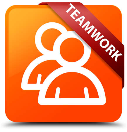 Teamwork (group icon) orange square button