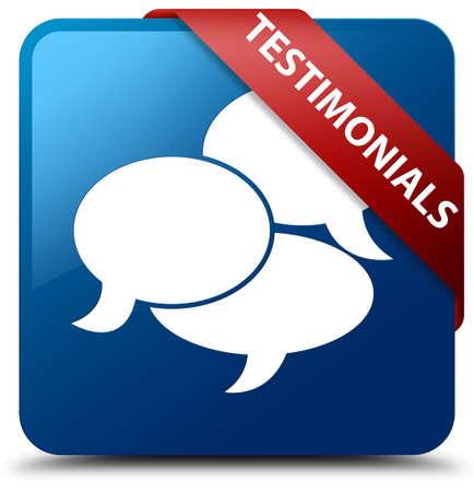 authenticate: Testimonials (comments icon) blue square button