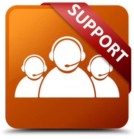 Support (customer care team icon) brown square button