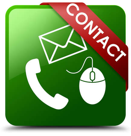 Contact (phone, email and mouse icon) green square button Stock Photo