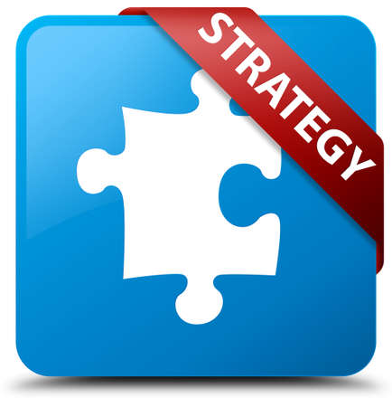 Strategy (puzzle icon) cyan blue square button