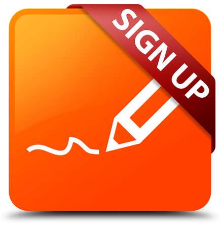 registro: Inscríbete botón naranja cuadrada