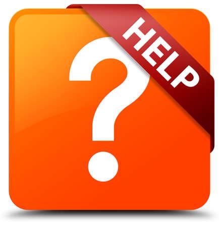 Help (question icon) orange square button Stock Photo