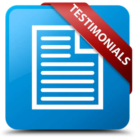 blue button: Testimonials (page icon) cyan blue square button Stock Photo