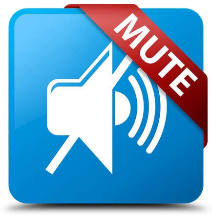 Mute cyan blue square button
