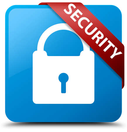 privacy: Security (padlock icon) cyan blue square button