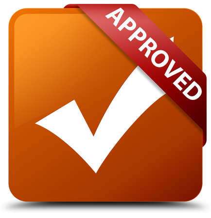 validate: Approved (validate icon) brown square button Stock Photo
