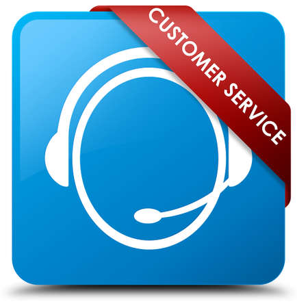 blue button: Customer service (customer care icon) cyan blue square button Stock Photo