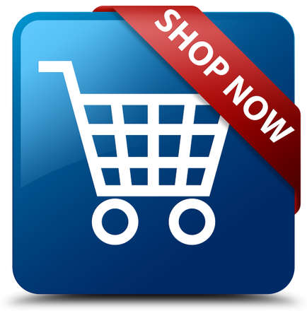 Shop now blue square button