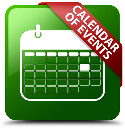 event planner: Calendar of events green square button