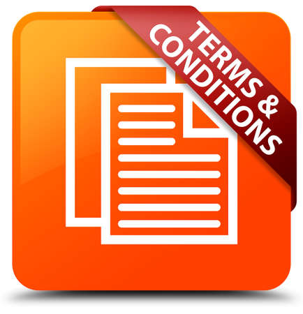 Terms and conditions (pages icon) orange square button Stock Photo