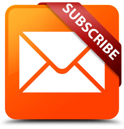 Subscribe (email icon) orange square button Stock Photo