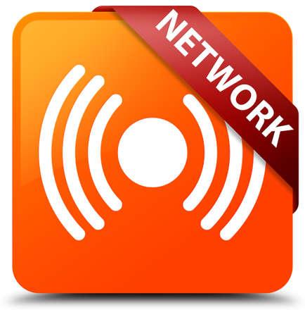 Network (signal icon) orange square button Stock Photo