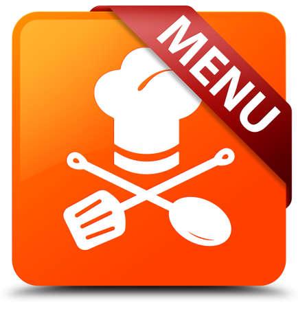 Menu (restaurant icon) orange square button Stock Photo