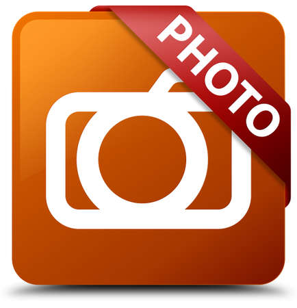 Photo (camera icon) brown square button Stock Photo