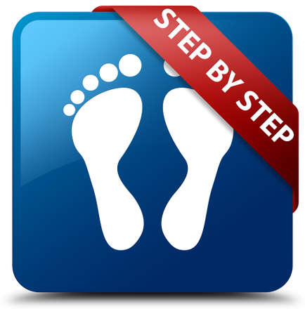 Step by step (footprint icon) blue square button
