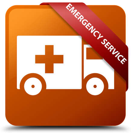 Emergency service brown square button Stock Photo