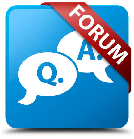 Forum (question answer bubble icon) cyan blue square button