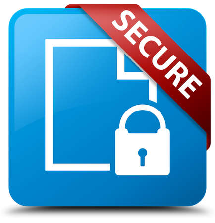 blue button: Secure (document page padlock icon) cyan blue square button Stock Photo
