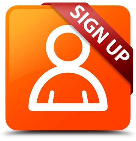 administrador de empresas: Registrarse (icono de miembro) botón cuadrado naranja