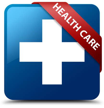 medical symbol: Health care (plus sign) blue square button