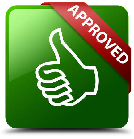 Approved (thumbs up icon) green square button Stock Photo