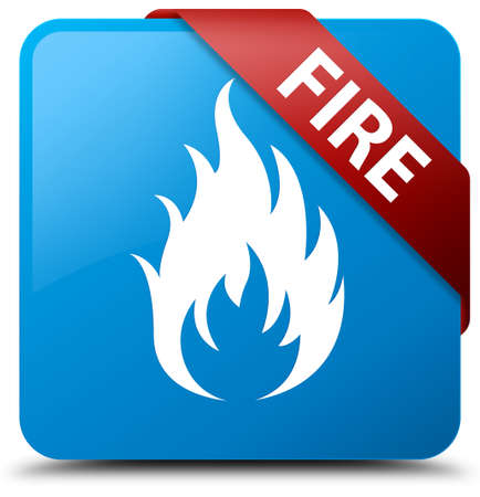 ominous: Fire cyan blue square button Stock Photo