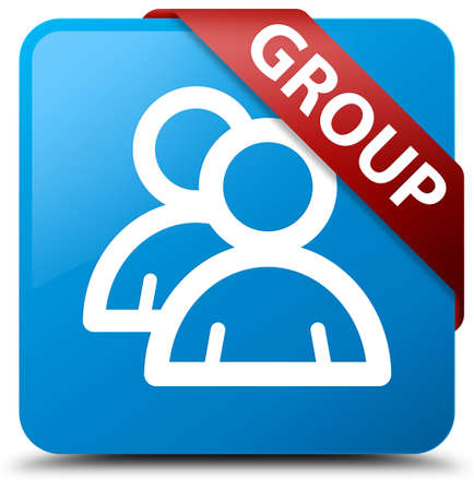 Group cyan blue square button Stock Photo