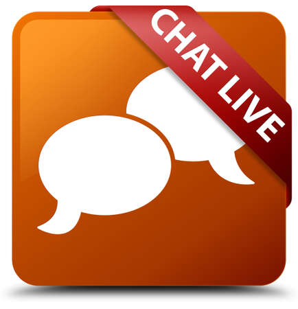 Chat live brown square button