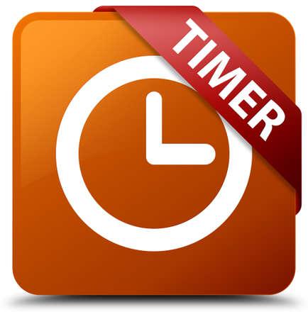 cronometro: Botón cuadrado marrón del temporizador Foto de archivo