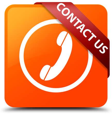 Contact us (phone icon round border) orange square button