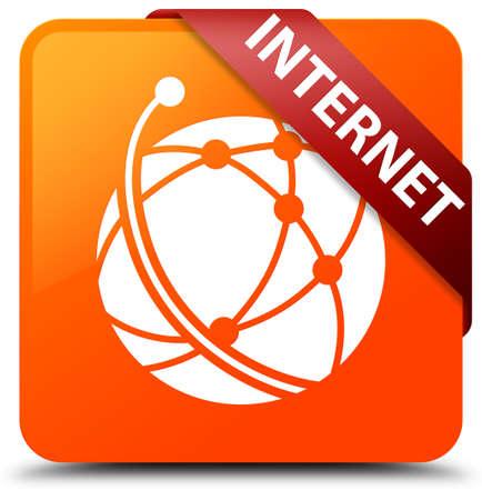 Internet (global network icon) orange square button