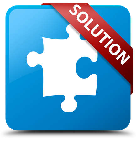 Solution (puzzle icon) cyan blue square button Stock Photo