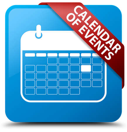 event planner: Calendar of events cyan blue square button