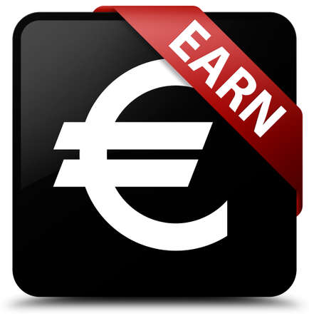earn: Earn (euro sign) black square button Stock Photo