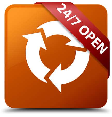247 open brown square button