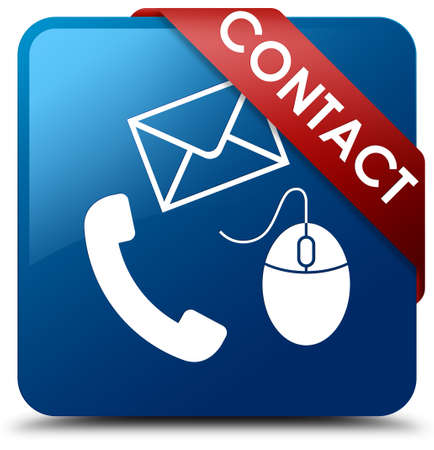 Contact (phone, email and mouse icon) blue square button