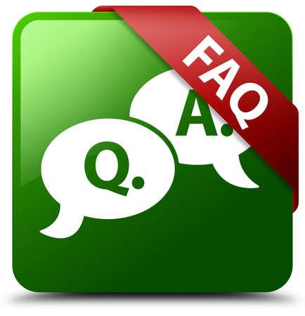 Faq (question answer bubble icon) green square button