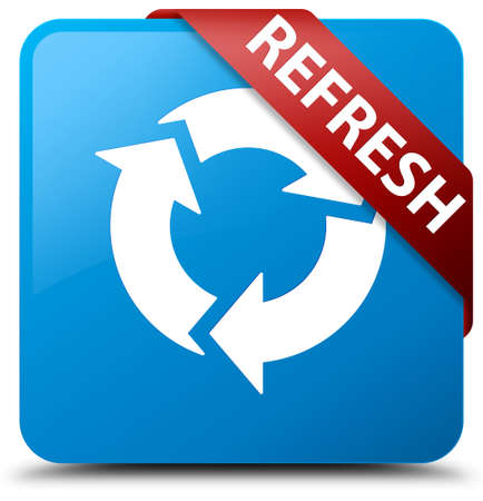 Refresh cyan blue square button Stock Photo