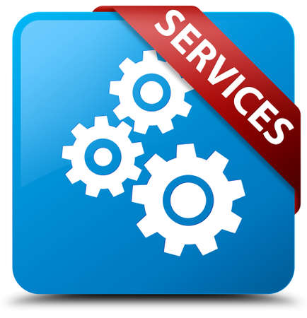 blue button: Services (gears icon) cyan blue square button