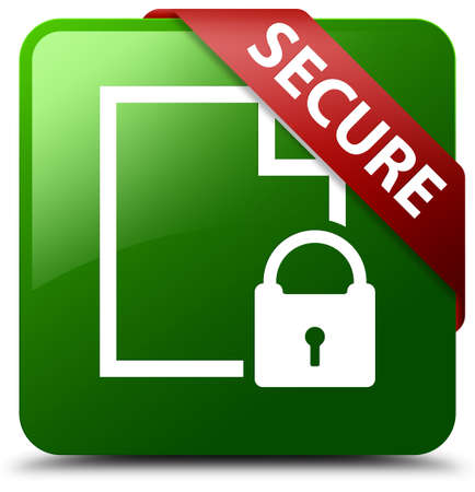 Secure (document page padlock icon) green square button Stock Photo