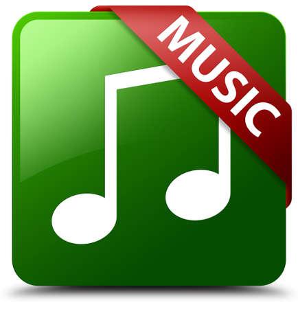 Music (tune icon) green square button Stock Photo