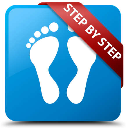 Step by step (footprint icon) cyan blue square button