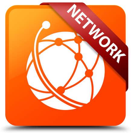 Network (global network icon) orange square button