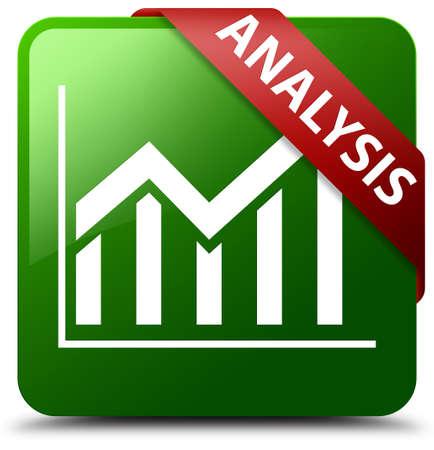 Analysis (statistics icon) green square button Stock Photo