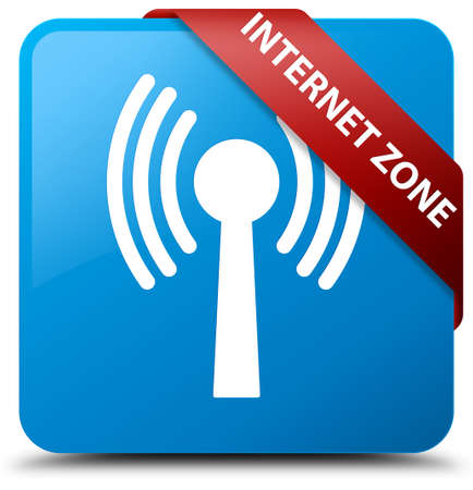 Internet zone (wlan network) cyan blue square button