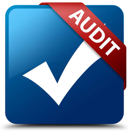 validate: Audit (validate icon) blue square button